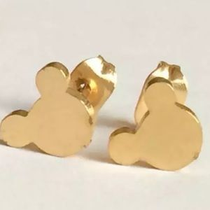 Tiny Gold Mickey Mouse Earrings. New!